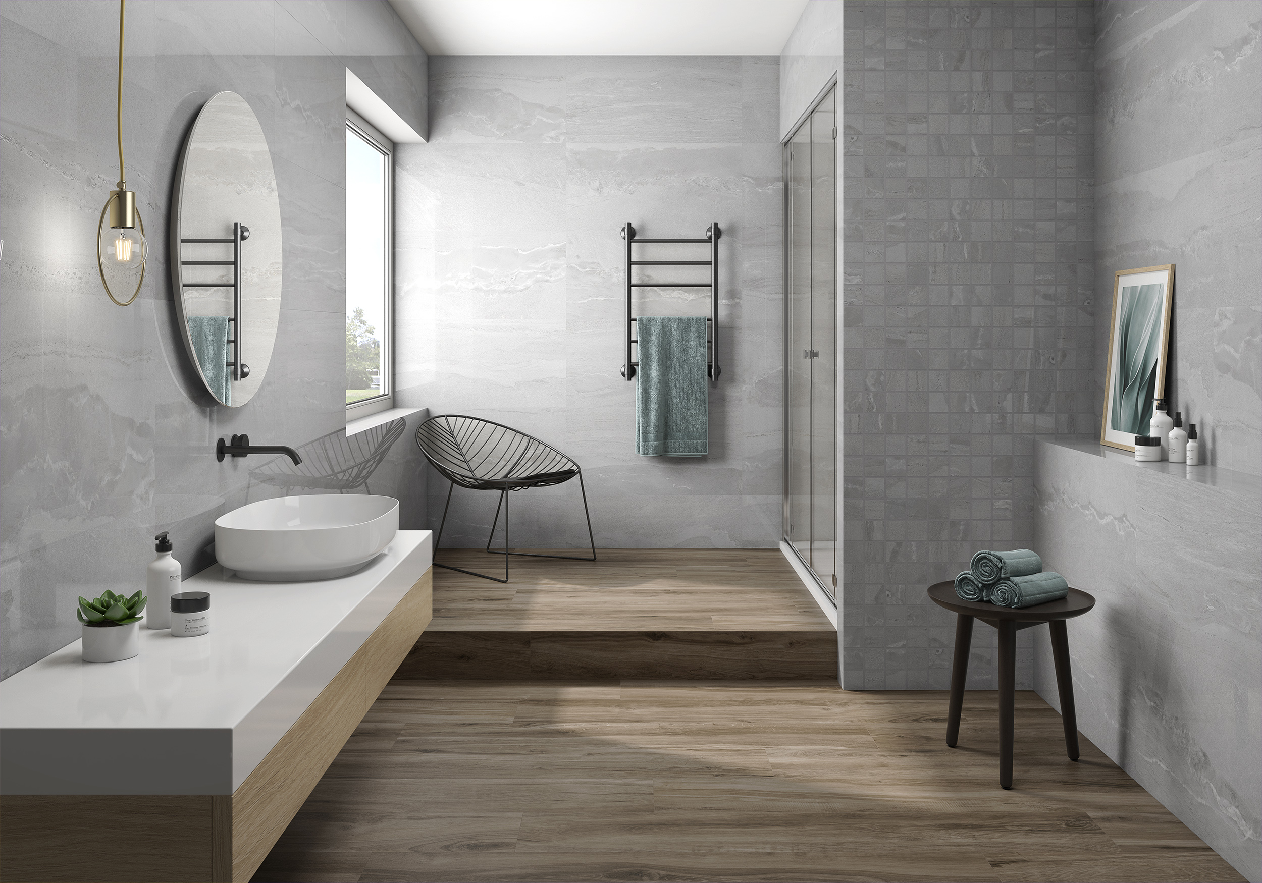 Een doucheruimte zijn Remodelleren Badkamerapparatuur op de stenen vloer.